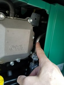 Magnetizer fuel unit must be put on the back of this Onan QG 3200, as there is no space here to comfortably install it.