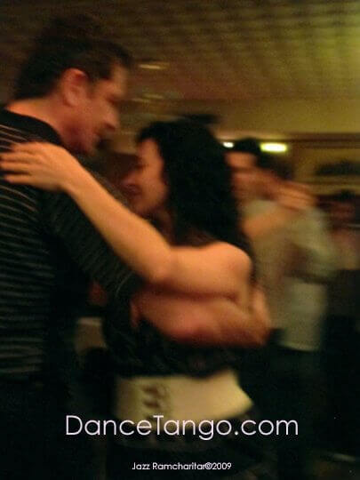 "Dancing with Guillermina Quiroga at Milonga ""La Rosa""."