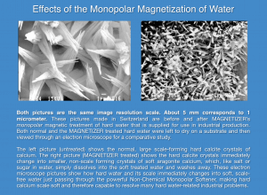 A water droplet before and after monopolar magnetization.